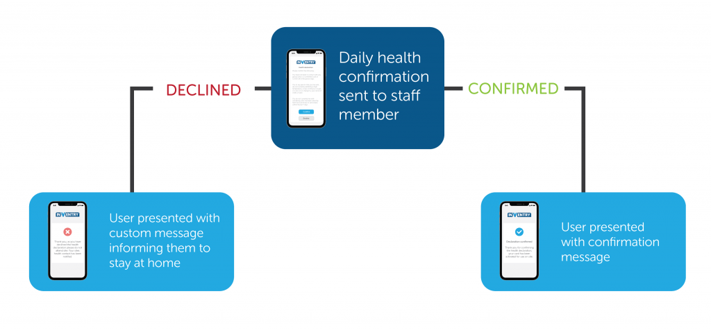Image of the process flow of Health Declaration