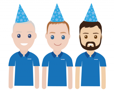 Image of 3 cartoon men with birthday hats on